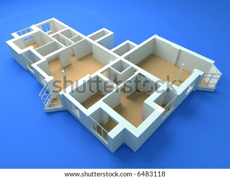 the modern flat sketch 3d rendering #6483118