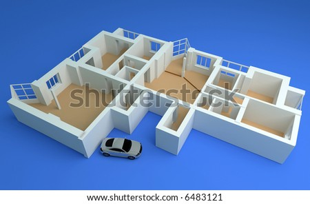 the modern flat sketch 3d rendering #6483121