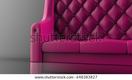 Luxury sofa made of leather. 3D illustration. 3D CG. High resolution. #648383827