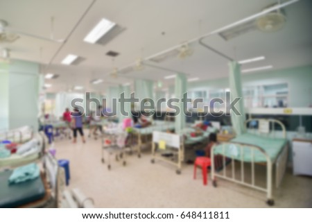 Blurred of nursing care and treatment for patient in the hospital  #648411811