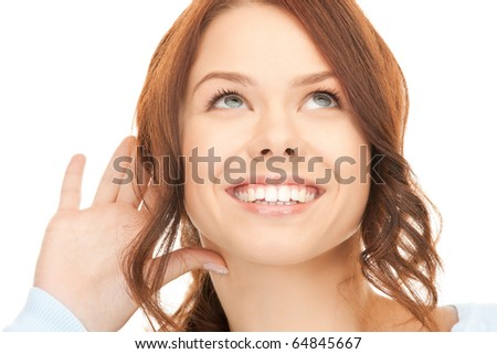 bright picture of young woman listening gossip #64845667
