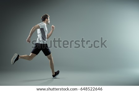 Running young male athlete - isolated #648522646