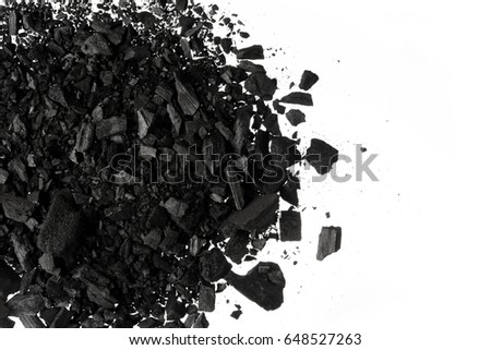 Charcoal or coal carbon  texture isolated on white background #648527263