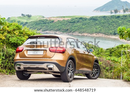 Hong Kong, China April 28, 2017 : Mercedes-Benz GLA 200 2017 Test Drive Day on April 28 2017 in Hong Kong. #648548719