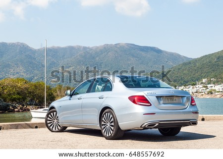 Hong Kong, China Feb 17, 2017 : Mercedes-Benz E 350 e Plug-in Hybrid 2017 Test Drive Day on Feb 17 2017 in Hong Kong. #648557692