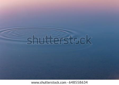 Water circular ripples on still water lake surface. #648558634