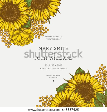 Sunflower vintage wedding invitation. Sunflowers card design. Vector illustration