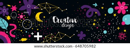 Horizontal background with abstract hand drawn elements. Useful for advertising and graphic design. #648705982