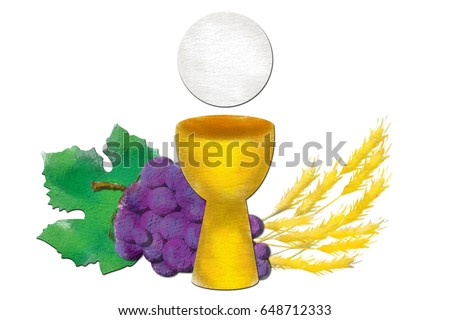 Eucharist symbols with chalice and host, bread and wine, with wheat ears and grapes cluster. First communion abstract texture illustration.