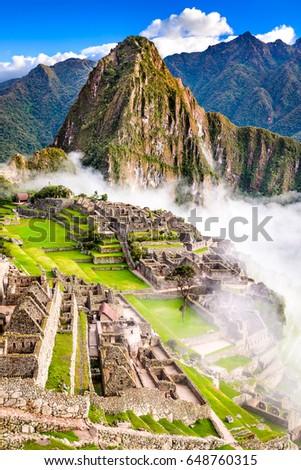 Machu Picchu, Peru - Ruins of Inca Empire city, in Cusco region, amazing place of South America. #648760315