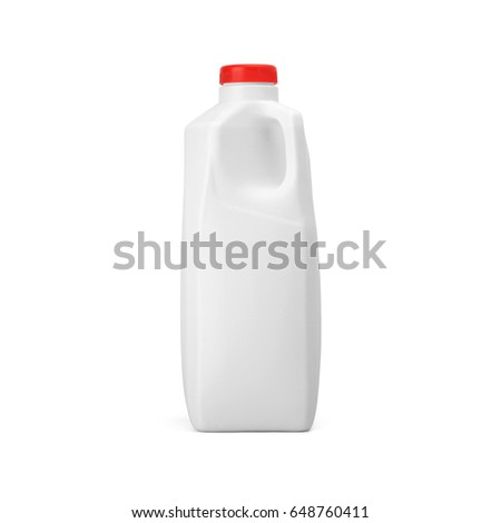Blank White plastic milk with red cap jug isolated on white background. Packaging template mockup collection. With clipping Path included. #648760411