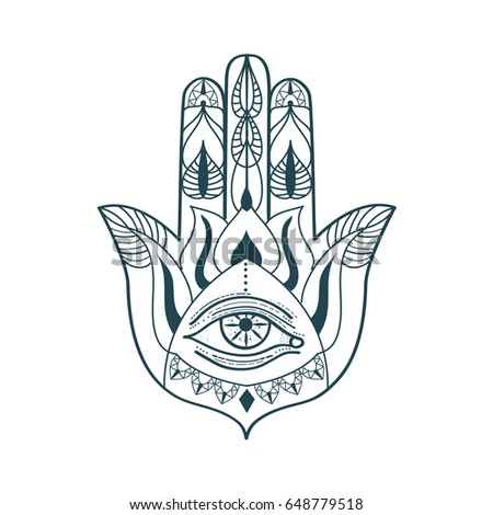 Ornate hand of Fatima. Eastern lucky charm. Vector illustration. #648779518
