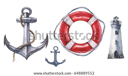 Watercolor hand drawn nautical / marine illustration with lighthouse, lifebuoy and anchors, one with rope