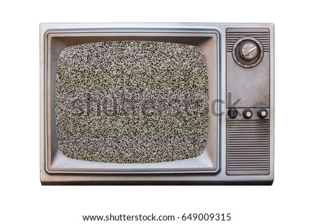 Classic Vintage Retro Style old  television with  no signal,old bronze or silver television on  isolated background. #649009315