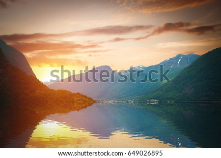 scenic landscapes of the northern Norwegian fjords.  #649026895