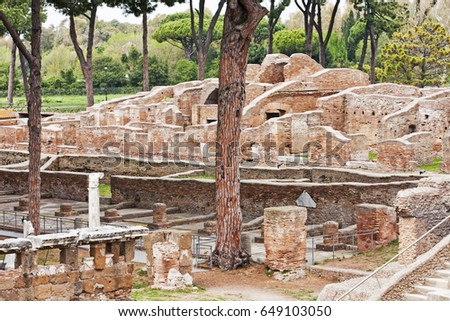 Archaeological Roman site landscape in Ostia Antica - Rome - Italy #649103050
