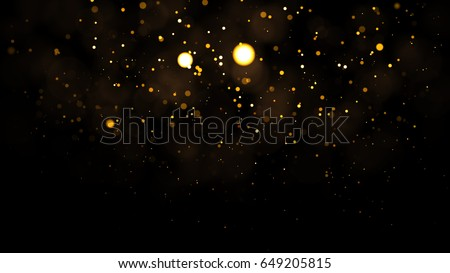Gold abstract bokeh background. real backlit dust particles with real lens flare. #649205815