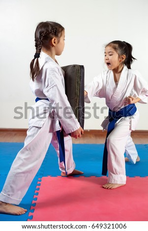 Two little girls demonstrate martial arts working together. Fighting position, active lifestyle, practicing fighting techniques Royalty-Free Stock Photo #649321006