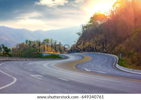 Morning road on the mountain #649340761