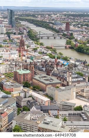 Germany Frankfurt am main skyscrapers aerial view  #649459708
