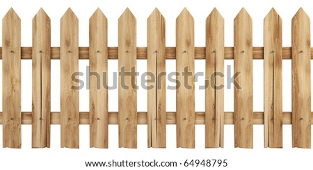 a wooden fence isolated on white including clipping path