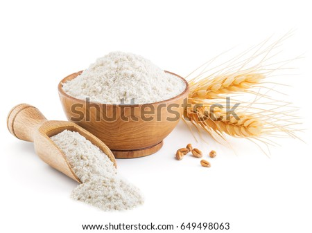 Whole grain wheat flour and ears isolated on white Royalty-Free Stock Photo #649498063