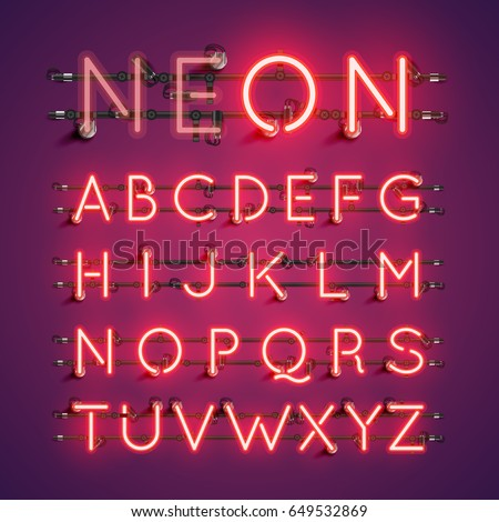 Red neon character font set on purple background, vector illustration