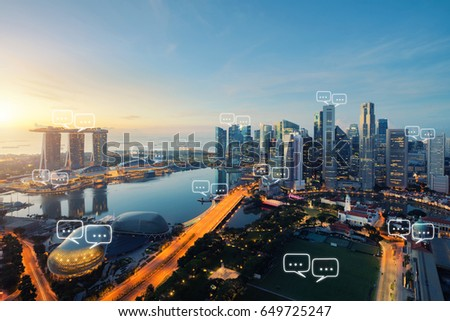 Blank space for text on Singapore city and bubble chat for communication. Technology and communication concept. Internet of things #649725247
