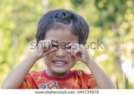 Portrait of Asian boy outdoor #649739878