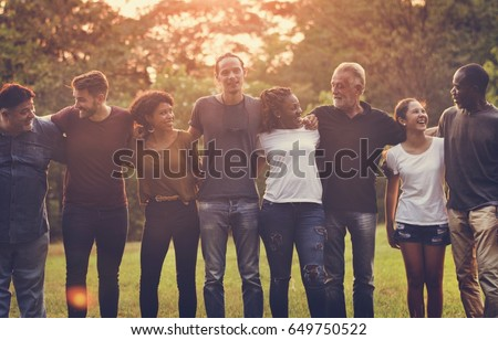 Happiness group of people huddle and smiling together #649750522
