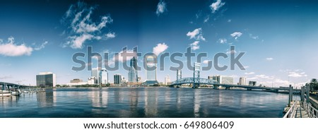 Jacksonville beautiful skyline, panoramic city view at sunset - Florida.