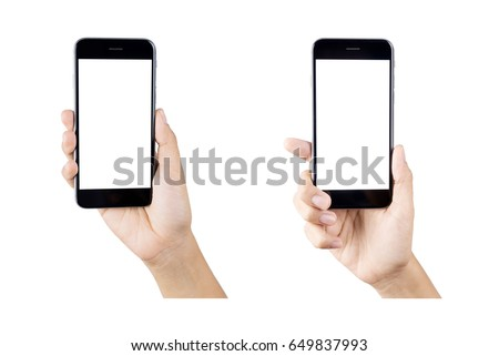 Woman hand holding smartphone isolated on white background. white screen #649837993