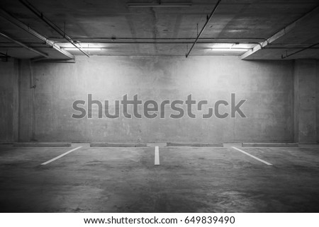 Parking garage department store interior with blank billboard. #649839490