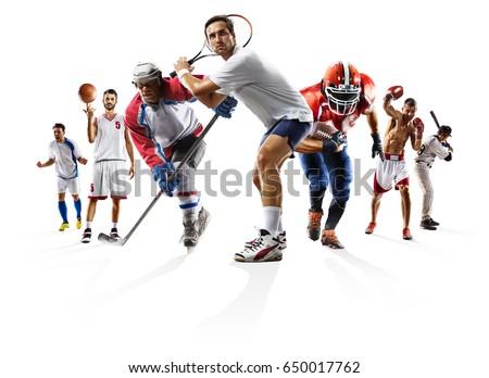 Sport collage boxing soccer american football basketball baseball ice hockey etc #650017762