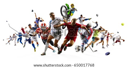 Huge multi sports collage soccer basketball football hockey baseball boxing etc Royalty-Free Stock Photo #650017768