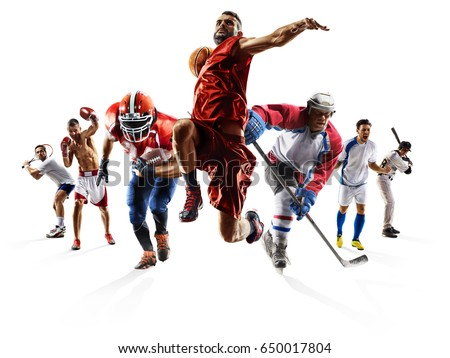 Sport collage boxing soccer american football basketball baseball ice hockey etc Royalty-Free Stock Photo #650017804
