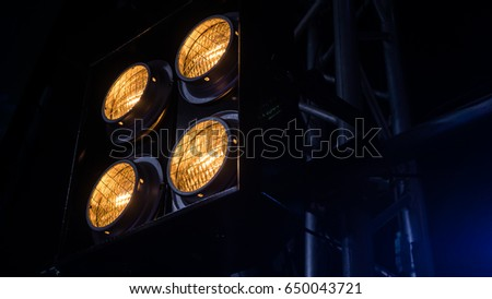 Close up Spot Light for film , Tv show , cinema , concert  in studio and outdoor   background and texture   #650043721