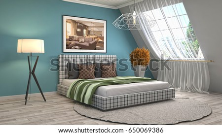 Bedroom interior. 3d illustration #650069386
