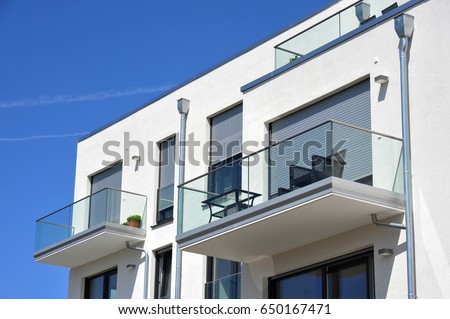 Balcony Rail of high-grade steel  and Glass in Front of a House #650167471