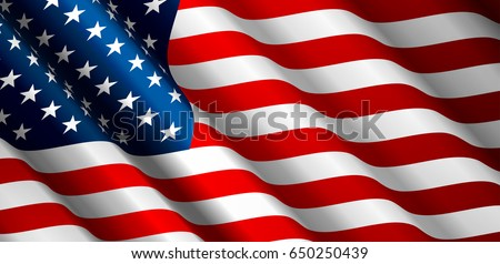 United States Flag Vector Closeup Illustration