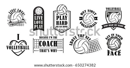 Volleyball logo set, creative labels for players competing in sport game, athletes and coaches motto, t-shirt badge for fan zone or volunteers, vector illustration
