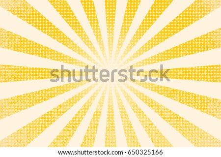 horizontal vector illustration of a grunge background of yellow color. divergent rays. the simulation of old printed materials. Royalty-Free Stock Photo #650325166