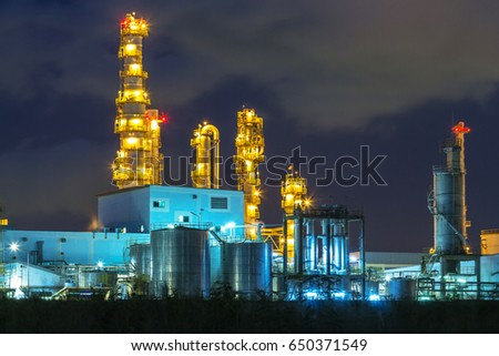 Petrochemical plant, oil refinery factory with Twilight  #650371549