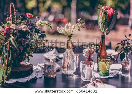 wedding decoration with flowers. vintage picture