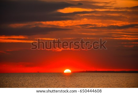 Sunset over sea landscape #650444608
