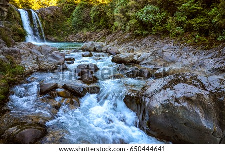 Mountain forest river stream landscape #650444641