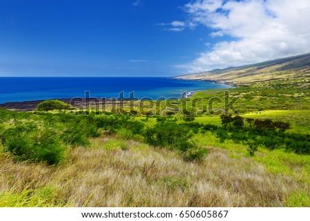 Beautiful landscape of South Maui. The backside of Haleakala Crater on the island of Maui, Hawaii #650605867