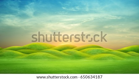 panorama of green hills with sunrise sky ,3D rendering #650634187