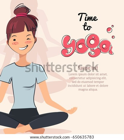 Time to yoga poster. Pretty young girl doing yoga exercise in the class. Vector illustration #650635783