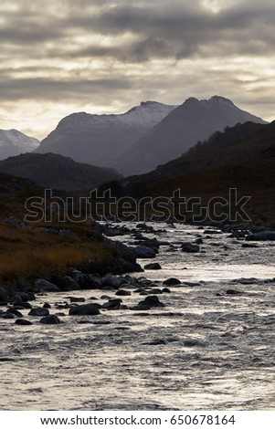 River Gruinard near the summit of An Teallach in the Scottish Highlands, Scotland, UK.                                #650678164